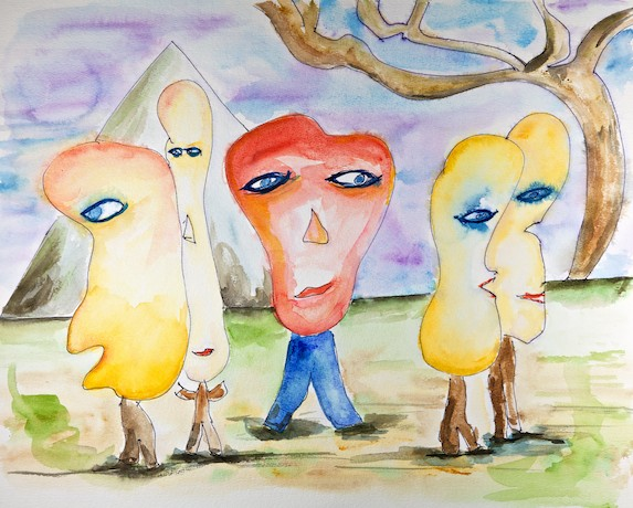 Please listen to me - A watercolor painting by Paul Breddels
