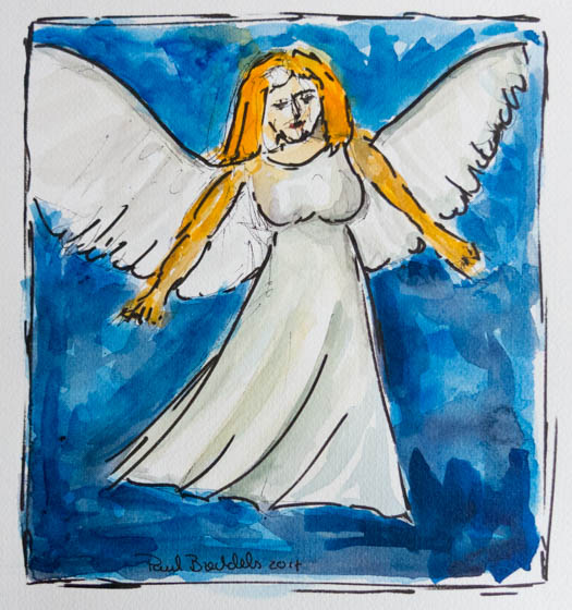 Watercolor painting of an angel
